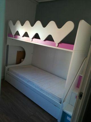 Dormitorio, cama ,litera, cajones, 3 camas