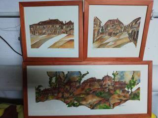 Tres láminas del pueblo Pedraza.