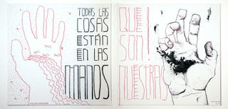 Things & Hands, acrilico y boli s/lienzo.200x100cm