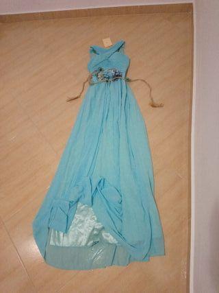 vestido largo fiesta azul turquesa talla 36