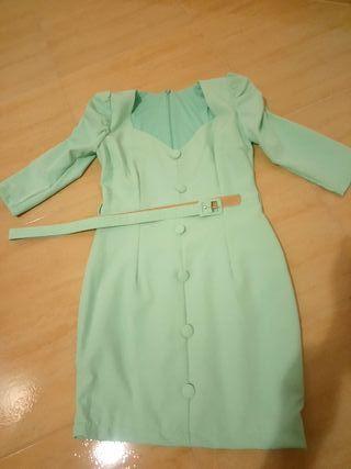 vestido azul celeste corto talla s