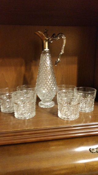 Juego jarra y vasos cristal