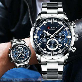 Reloj hombre curren plateado y azul cronógrafo NUEVOS Rf: 261