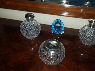 conjunto cristal de bohemia y plata