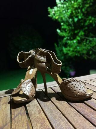 Sandalias de piel cuero