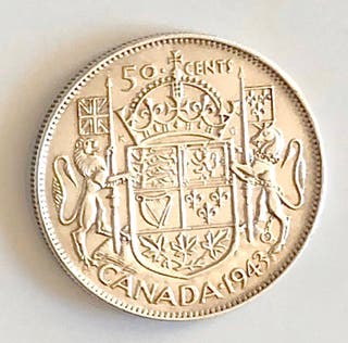 50 cents plata Canada 1943