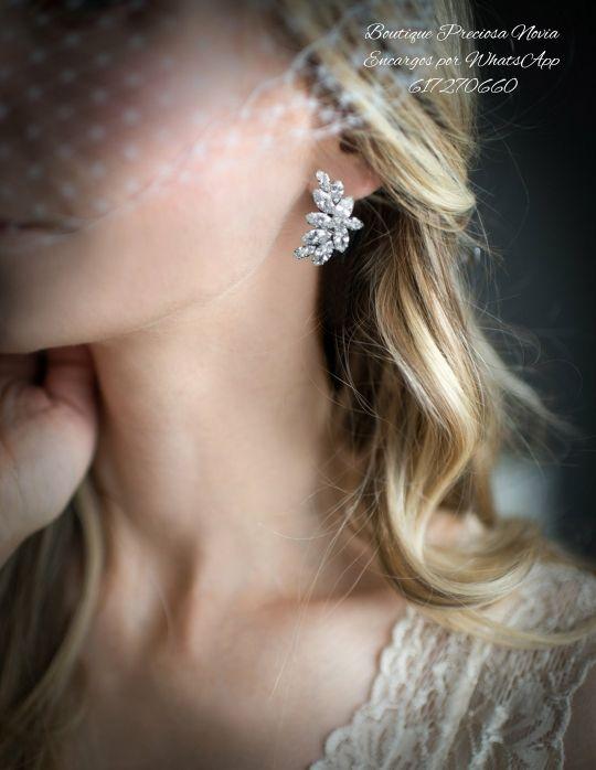 Pendientes de novia de cristal de alta calidad