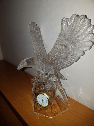 Reloj cristal aguila decoración escultura figura