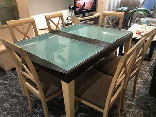 Mesa de comedor y 6 sillas.