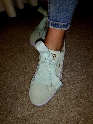 zapatillas puma mujer verde celeste