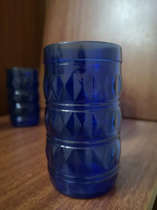 6 vasos vintage azules