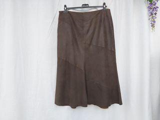 Massimo Dutti falda de piel marron Talla L