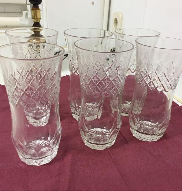 6 vasos cristal tallado