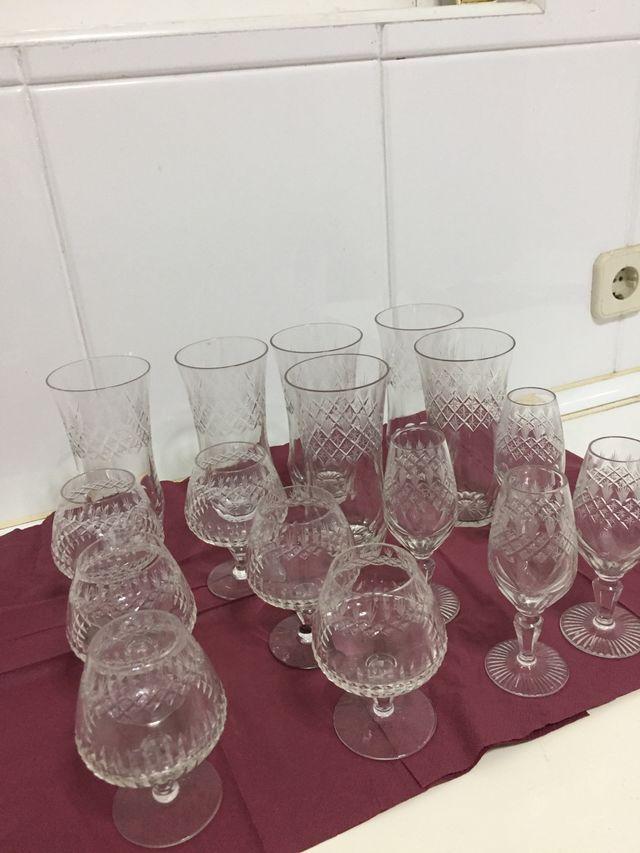 6 copas coñac cristal tallado