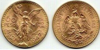 Imitación Moneda de Oro 50 Pesos de México