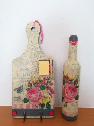 Botella y tablero decoración hecho a mano
