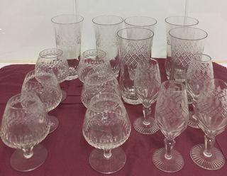 4 copas de cristal tallado