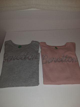 2 Camisetas de Niña de Benetton