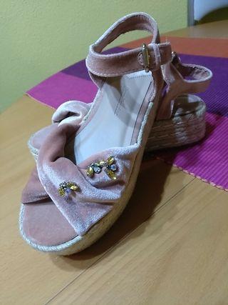 Sandalia terciopelo