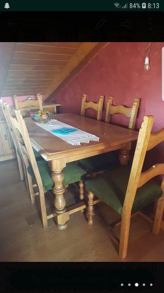 Mesa y sillas madera maciza