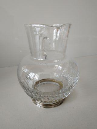 Jarra cristal base de plata