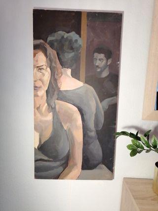 Cuadro original retrato sobre tabla óleo