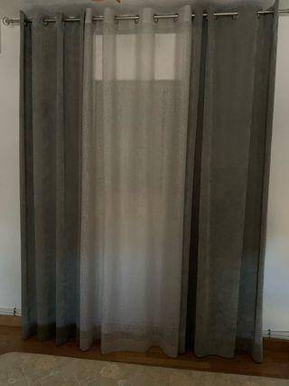 Barra de cortina mas cortinas