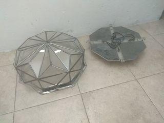 lampara cristales techo antigua