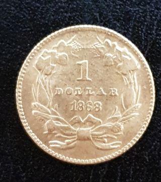 1 dollar de oro EE.UU. del año 1868