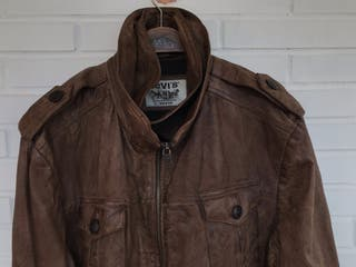 Cazadora chaqueta cuero marron LEVIS talla XXL