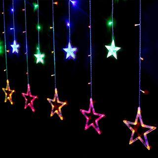 Cortina 12 Estrellas de Colores Luces LED 2 * 1 M
