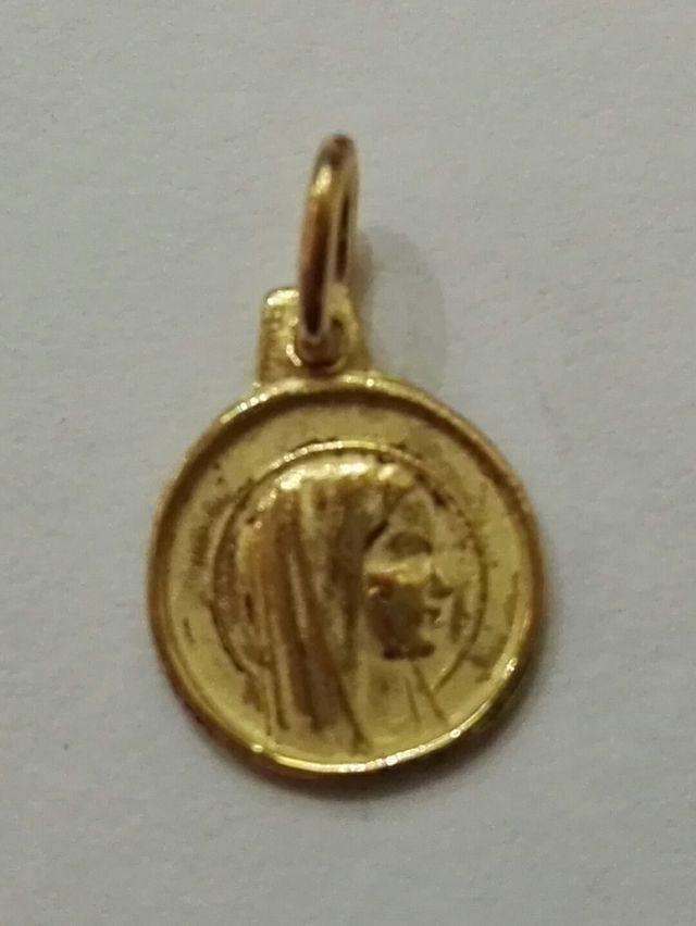 medalla virgen de lorudes en oro 18kt - 1cm
