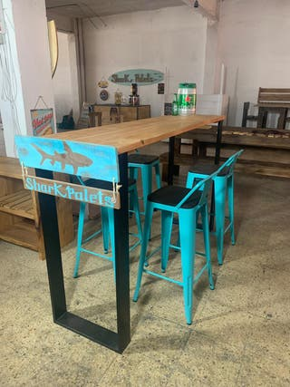 Barra americana industrial madera acero
