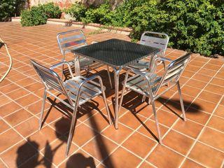 Packs: mesa + sillas de aluminio para jardín
