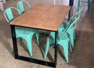Mesa industrial madera palet acero