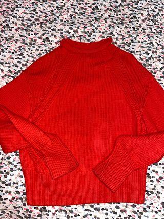 Jersey rojo cuello tortuga bajo H&M
