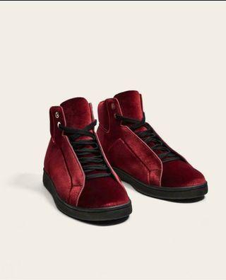Maroon velvet high top sneakers Size 10.5