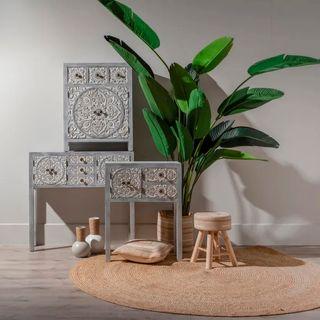 Mueble Auxiliar Cajonera Grabada Flor Loto