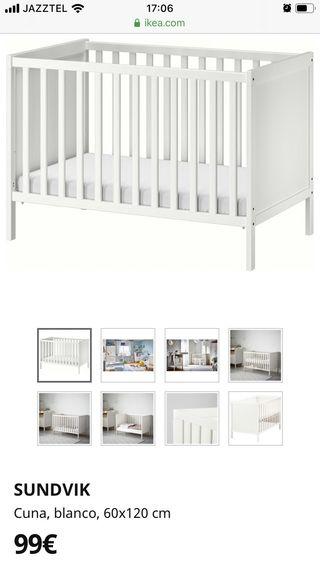 Cuna de madera blanca Ikea 60x129cm