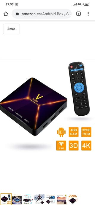 smart box super V 4gb android 9 32gb memoria