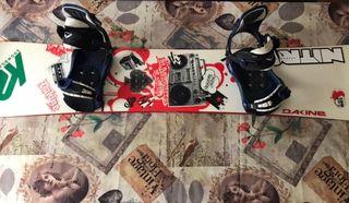 Tabla de Snowboarding + fijaciones.