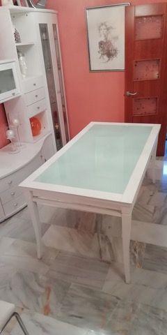 Mesa de madera y Cristal extensible
