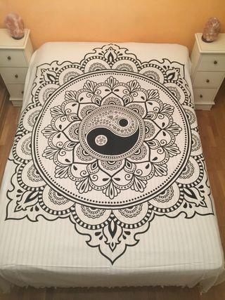 Colcha India Mandala Yin Yang100% algodón