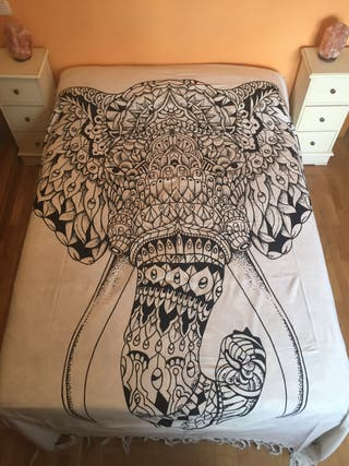 Colcha India Mandala Elefante 100% algodón