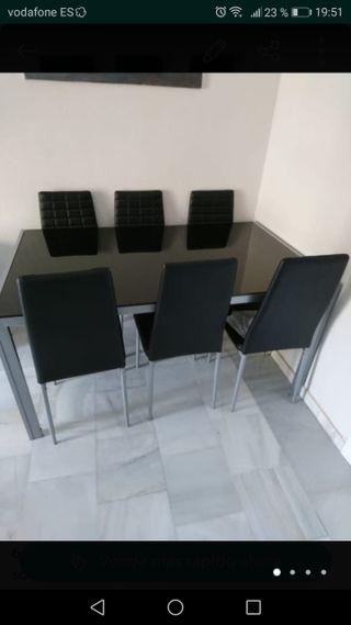 mesa cristal salon-comedor