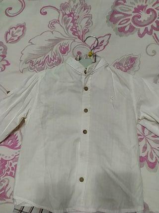 camisa lino niño cuello Mao