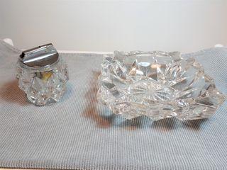 Cenicero y encendedor de cristal tallado