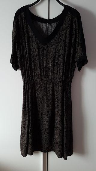 Naf Naf. Vestido negro y bronce. T38.