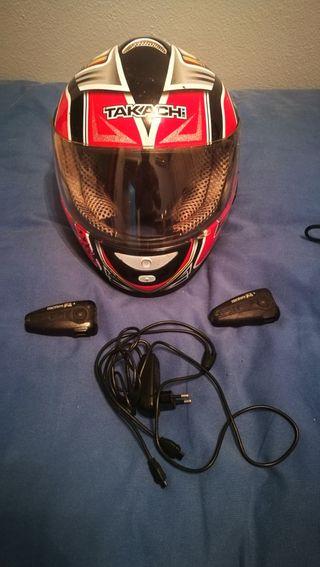 casco cerrado kakasi moto con intercomunicador