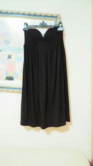Vestido negro fiesta palabra de honor Zara talla S